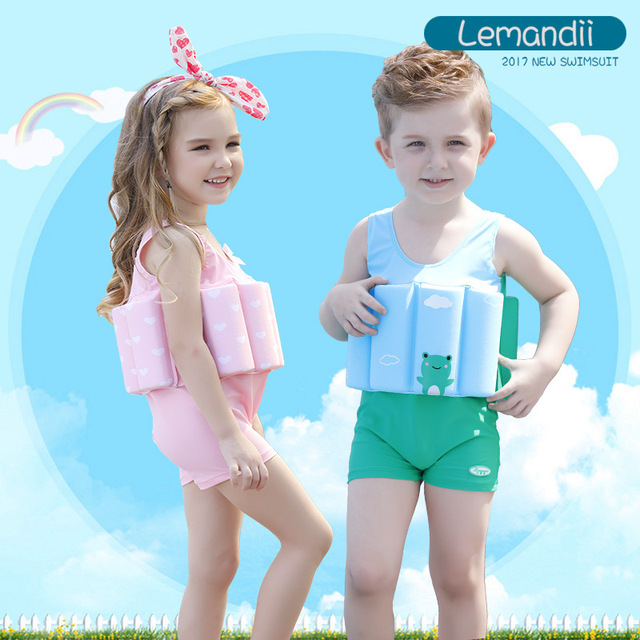70d8540634bf6 8-10Y Kids Swimwear girls Swimming Suit Junior Swimsuit Bathing Suits 2018  Boys Drying Aids Children Floating Rayon 140cm height