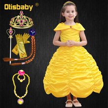 Beauty and the Beast Halloween Costumes for Girls Princess Belle Dress Kids Birthday Party Yellow Fluffy Fairy Frocks