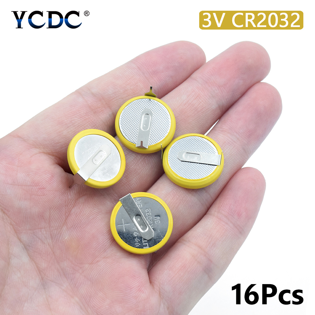 16Pcs CR2032 Battery 2 Soldering Pins 3V Coin Cell For Motherboard Calculator Button Battery Electronic Scale