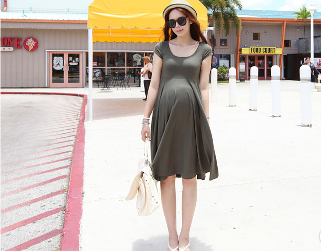 Summer Fashion Maternity Dresses Clothes For Pregnant Women Clothing O-neck Short Sleeve 4 Colors Slim Pregnancy Dress Wear 2018 chic round neck short sleeve figure print fringed dress for women