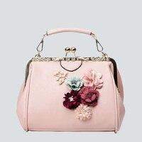 Nhật bản Hàn Quốc Phong Cách Nữ túi xách PU da 3D Đính Flowers Luxury Ladies Đảng Tote Tay Shoulder Bags Khung Crossbody túi
