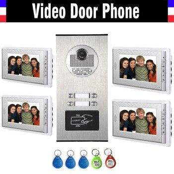 Видеодомофон для дома, 4 комплекта, HD камера, 7 дюймовый монитор с RFID брелоками