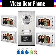 4 Units Apartment Intercom System Video Intercom Video Door Phone Kit HD Camera 7 Inch Monitor with RFID keyfobs for 4 Household