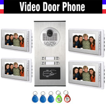 4 Units Apartment Intercom System Video Intercom Video Door Phone Kit HD Camera 7 Inch Monitor with RFID keyfobs for 4 Household