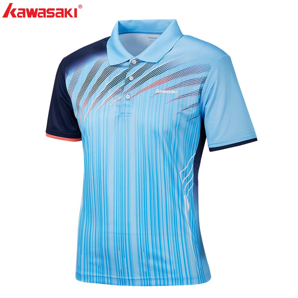 KAWASAKI Brand Men T Shirts Quick Dry 100 Polyester Tennis Table T Shirt Sports Clothing With Buttons ST S1101 in Tennis T Shirts from Sports Entertainment
