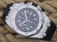 Роскошные брендовые новые мужские часы хронограф Сапфир из нержавеющей стали желтый золотой светящийся черный коричневый кожаный полный с