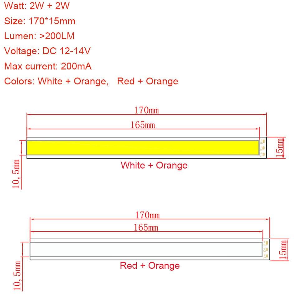 Lâmpadas Led e Tubos de iluminação branco laranja vermelho Comprimento : 170mm