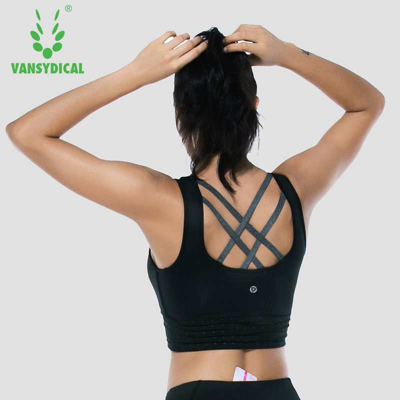 Women Sports bras Yoga Fitness Tops Removable Cup Cross Back Strips Workout Gym Vest Sleeveless Vansydical new 1685pcs lepin 05036 1685pcs star series tie building fighter educational blocks bricks toys compatible with 75095 wars