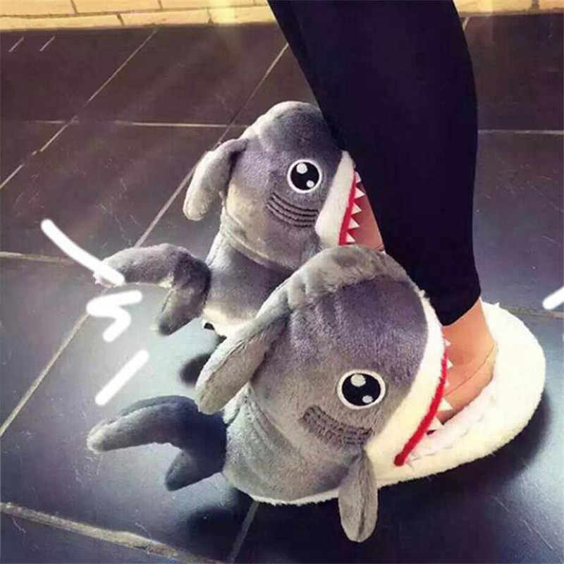 2019 Winter Slippers Vrouwen en Mannen Fashion Shark Slipper Katoen Warm Indoor slippers Mooie Cartoon Vrouwen Slippers Unisex