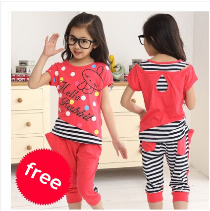 New Girl Set Summer 2017 Children Clothing Set 100% Cotton Cartoon Letter Girls Clothing Sets Casual Short-Sleeve Set Girl free shipping 2016 summer new arrive letter fashion children boy clothing set 100% cotton short sleeve casual clothes set