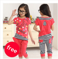 New Girl Set Summer 2014 Children Clothing Set 100 Cotton Cartoon Letter Girls Clothing Sets Casual