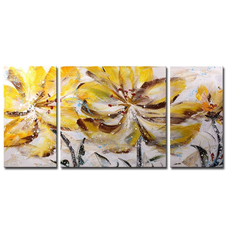 3Pcs lot Brown Flower of the Wind Unframed Pure Hand Painted Modern Abstract Oil Painting On Canvas Flower Wall Art Home Decor in Painting Calligraphy from Home Garden