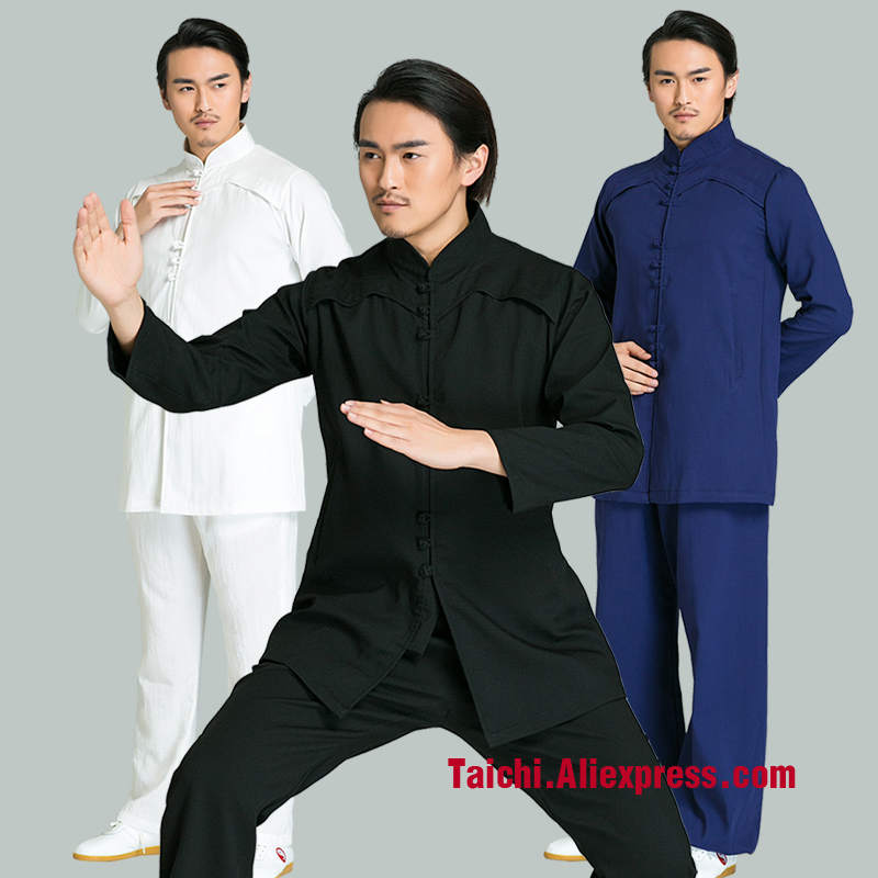 все цены на Men Handmade Linen Tai Chi Uniform Wushu Kung Fu martial Art Suit Chinese Stlye Clothes black white navy Blue онлайн
