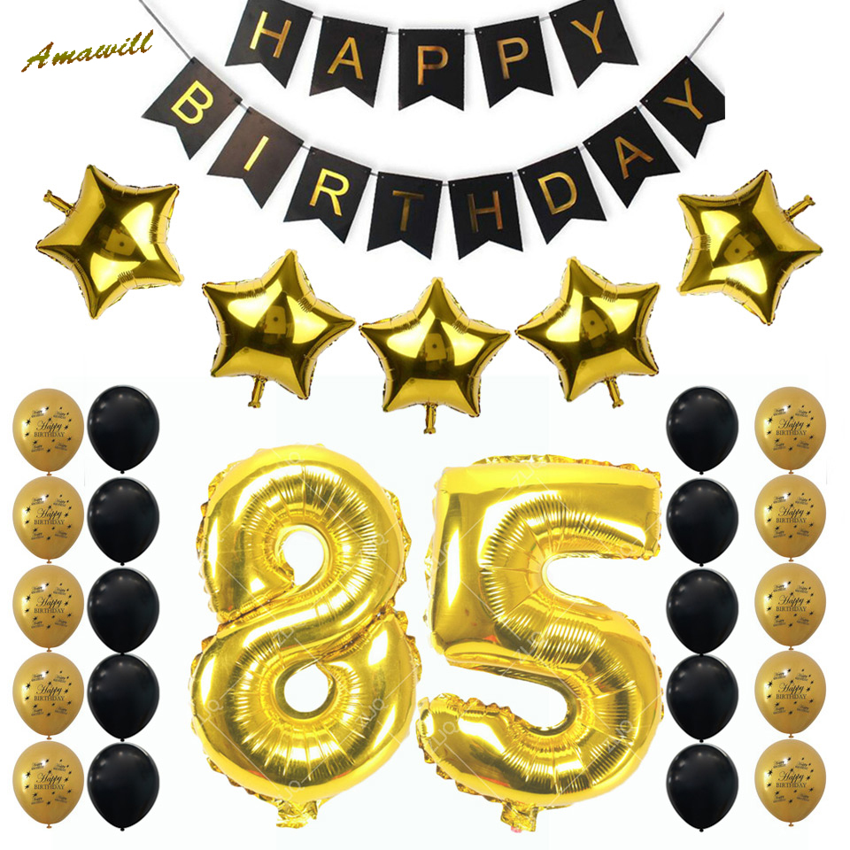 Amawill Happy Birthday Banner 12inch Gold Black Latex Balloon Adults Party Supplies 85th Decoration Kit 6D In Ballons Accessories From Home