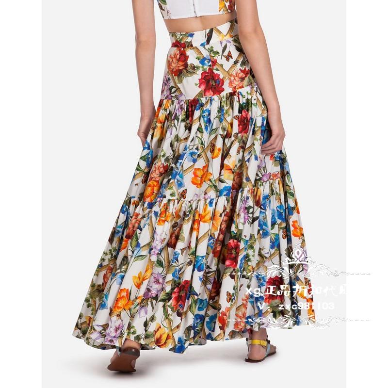 Customie Made Women Plus Size 3XS-10XL Maxi Long Flower Print Mermaid Skirt