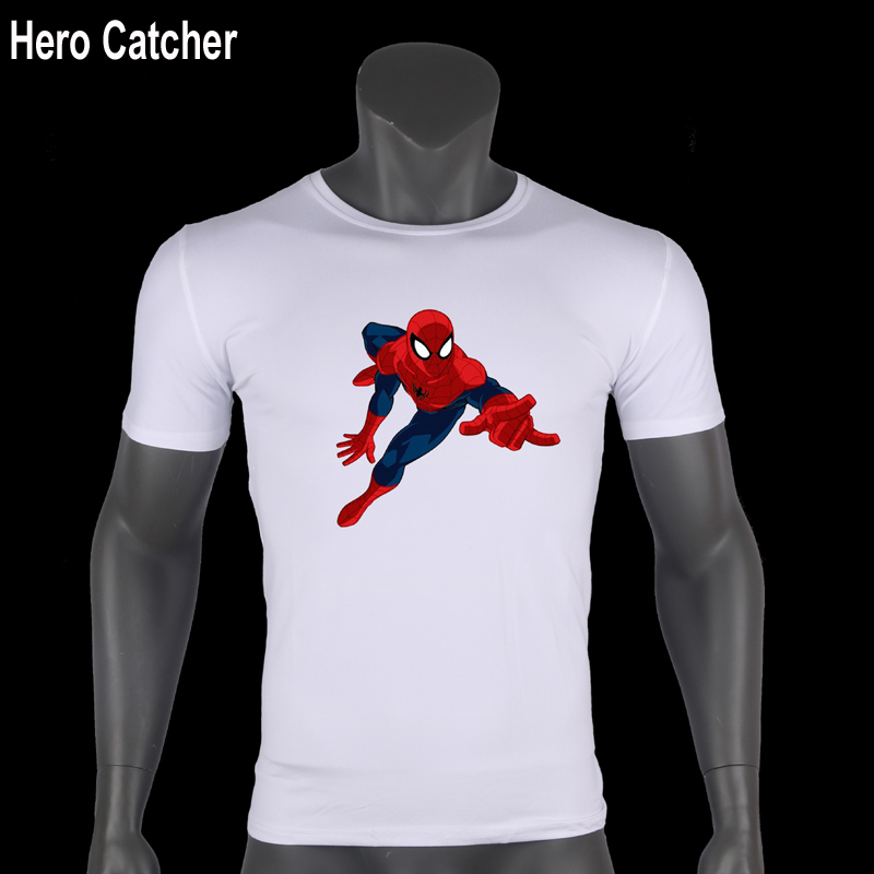 Hero Catcher Short Sleeve Spiderman Printed T Shirt Men T-Shirt White T shirt  Casual Mens Superman Spiderman T shirt Batman