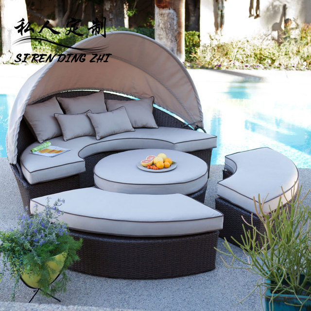 Outdoor Sun Beds Deck Chairs Lying Bed Beach Rattan Furniture, Outdoor  Pool, Wicker Chair