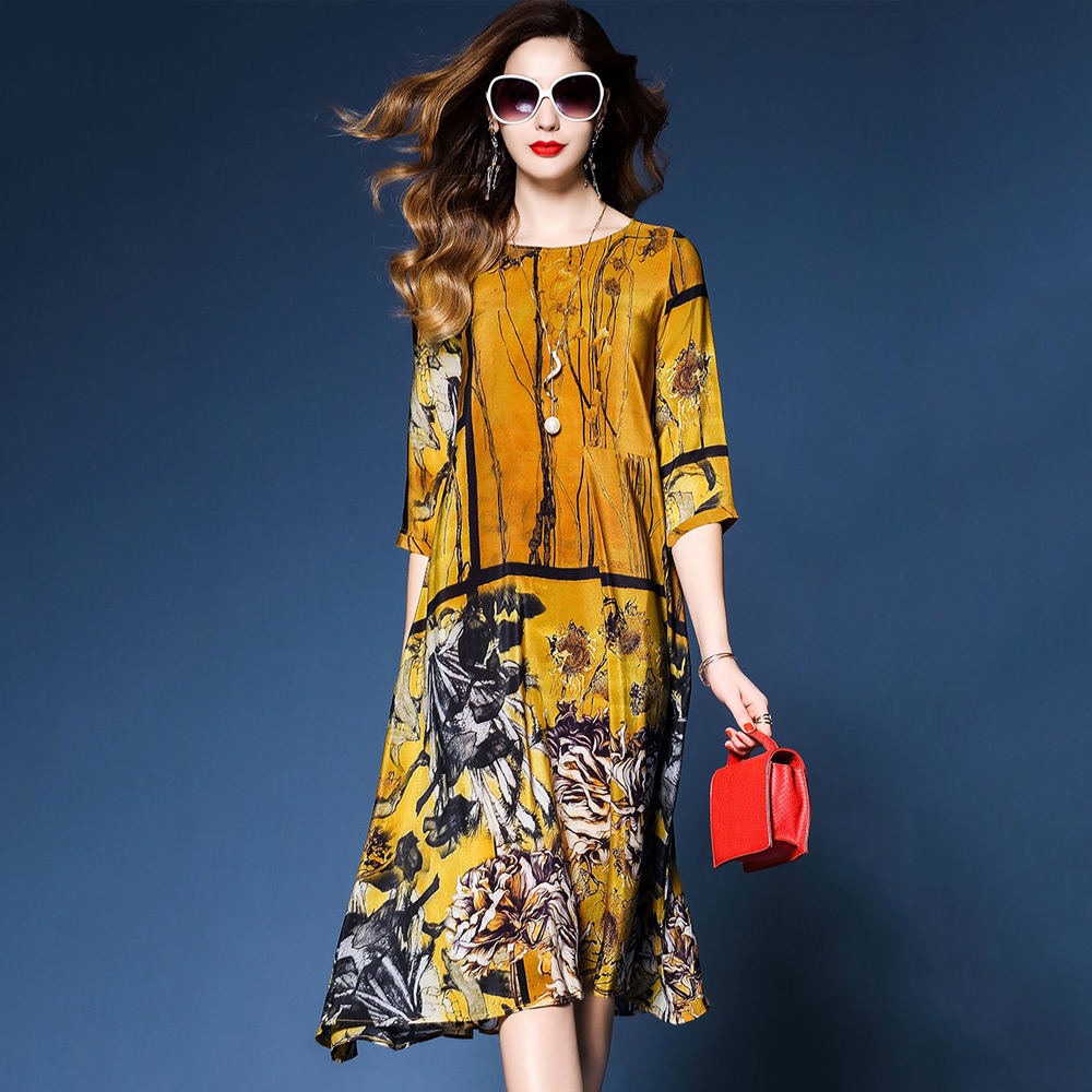 Spring and summer new style Chinese retro print dress Temperament silk long loose