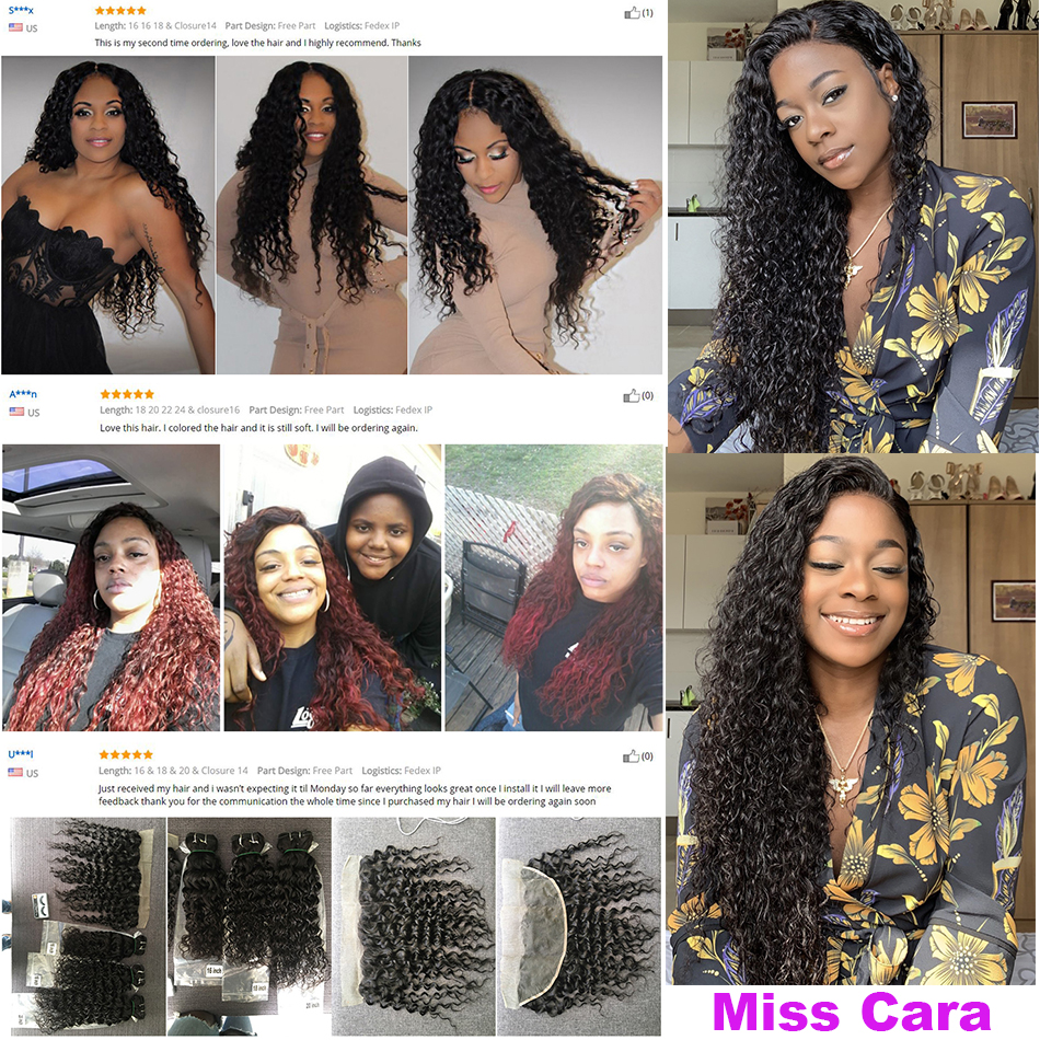 Peruvian Water Wave Bundles With Frontal Miss Cara Remy Human Hair 2/3/4 Bundles With Closure Lace F