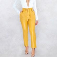 купить 2019 Summer Women Pockets Pu Leather Pants Solid Casual Pants Sexy Clubwear High Waist Pants дешево