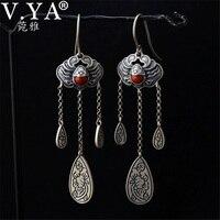 V.YA Bohemia Boho 925 Sterling Silver Long Earrings for Women Office Lady Thai Silver Earrings Dangle Jewellery