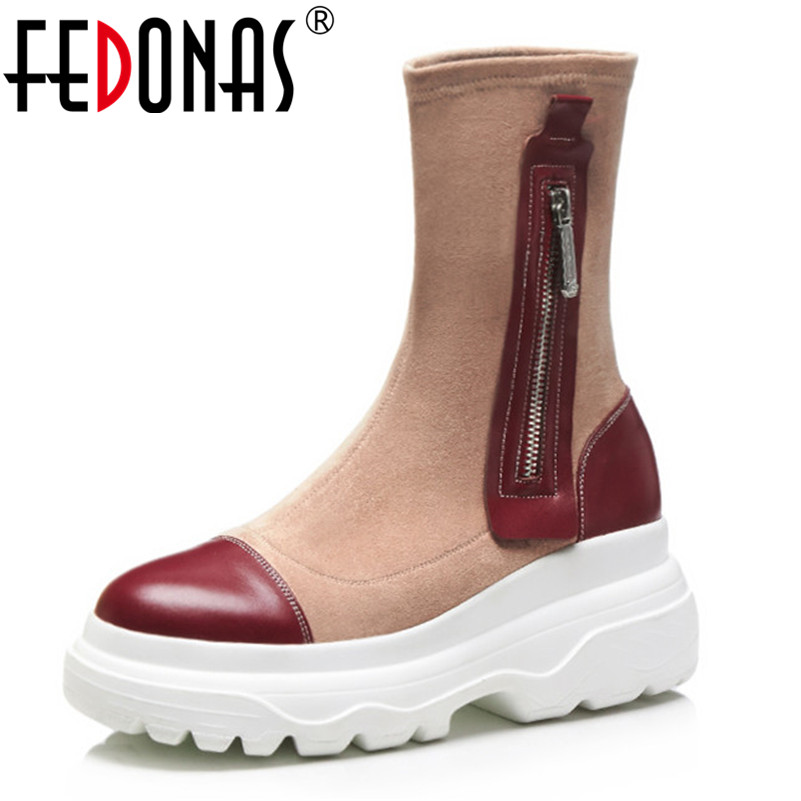 FEDONAS Brand Women Patchwork Mid Calf Boots Wedges High Heels Autumn Winter Shoes Woman Round Toe Platforms Martin Boots
