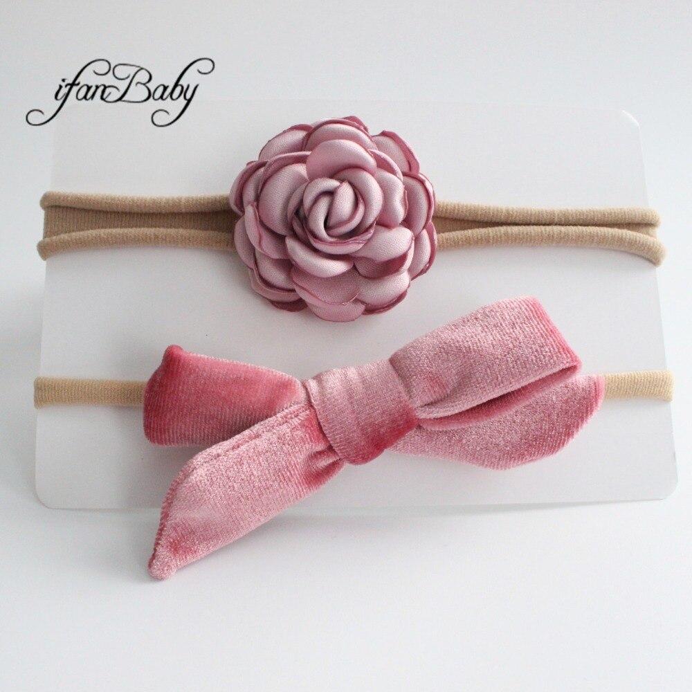 kids girl fabric flower headband nylon headband (12)