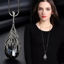 SINLEERY, модное большое ожерелье в форме капли с голубым кубическим цирконием, ювелирные изделия для женщин, аксессуары для одежды MY117 SSB