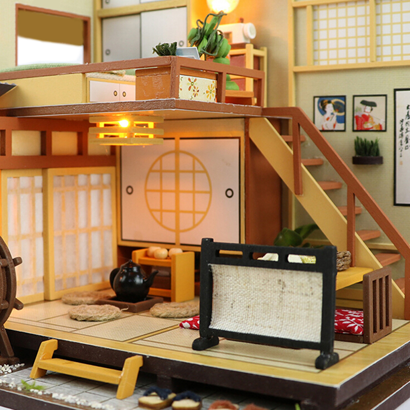 New DIY Large Wooden Doll House 3D Puzzle Model Toys Miniature Coffee Shop Doll House Birthday Christmas Gift Handcraft Toys maxway 3 4 5 6 7 8 fly fishing rod and reel combo with flies fly fishing line set fly fishing set
