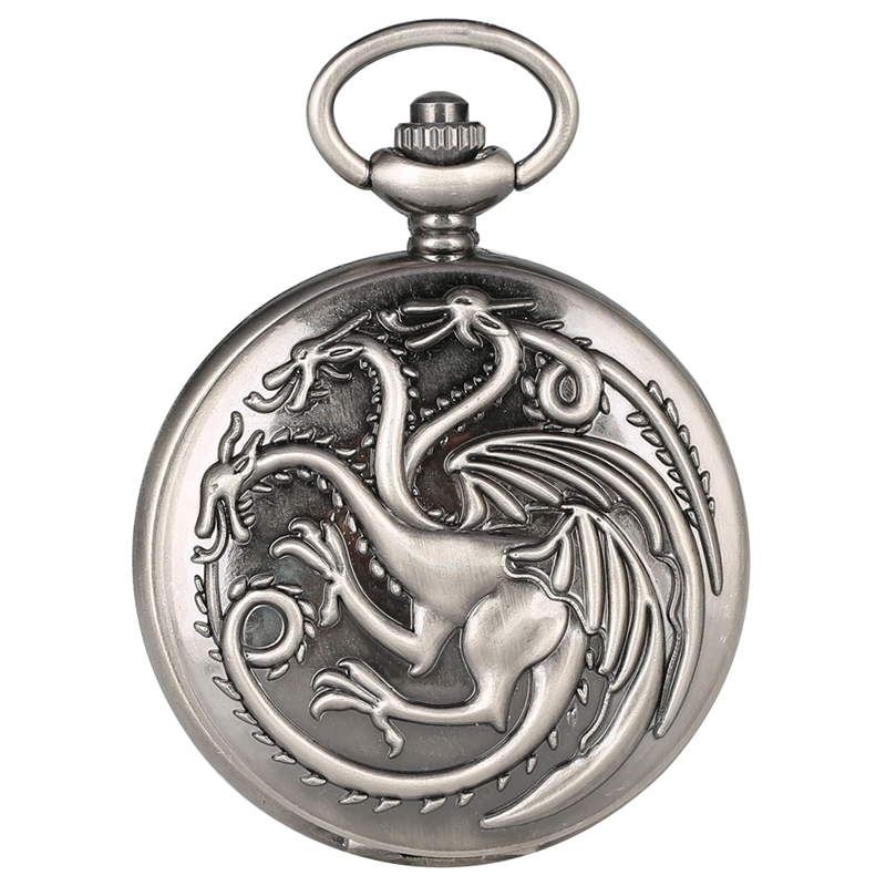 Retro Gray Game Of Thrones Theme Quartz Pocket Watch Family Crests House Targaryen Dragon Design Pendant Watches Necklace Chain