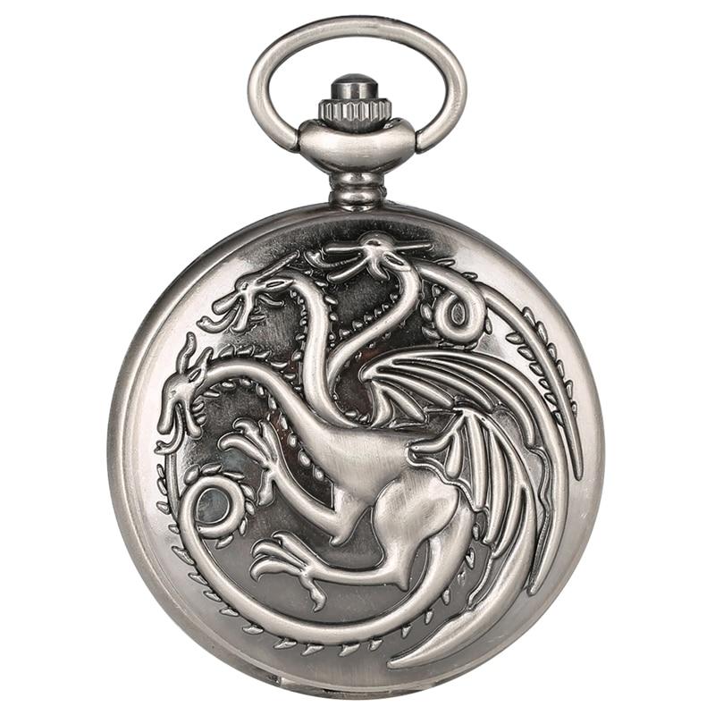 Retro Gray Game Of Thrones Theme Quartz Pocket Watch Family Crests House Targaryen Dragon Design Pendant Watches Necklace Chain