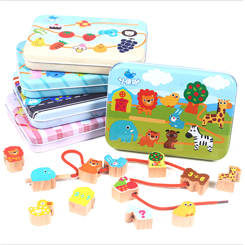 1 Set Cartoon Logwood Wooden Toys Baby DIY Toy Fruit Animal Stringing Threading Beads Toy Monterssori Educational For Children