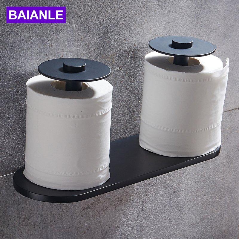 Newly High Quality Aluminum Toilet Paper Holder Wall Mounted Black Double Rolls paper Holder Bathroom Accessories luxury bathroom toilet paper holder copper antique toilet paper rolls bathroom paper storage basket bathroom accessories