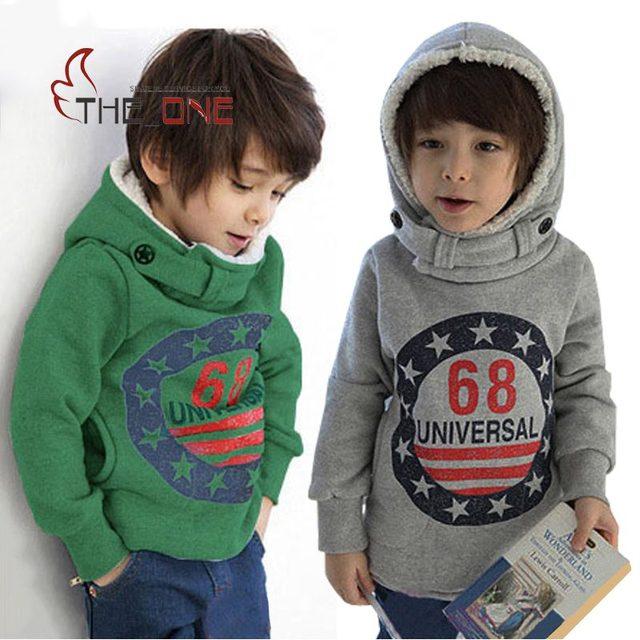 Meninos 2-6 T Outono Inverno Pulôver de Algodão Com Capuz Crianças Casaco Menino Moda Hoodies do Velo Com Capuz Roupas Crianças Espessado para Meninos