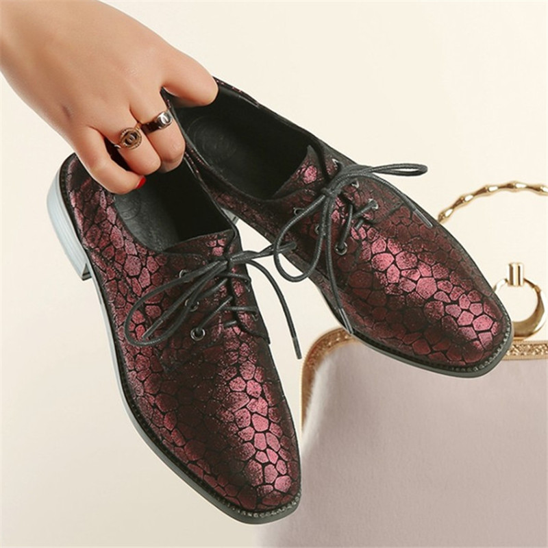 Plus Size 34-42 New Genuine Leather Women Shoes Lace-Up Totem Flats Square Toe Handmade Creepers Oxford Shoes Woman Casual Shoes qmn women genuine leather platform flats women lace cut glossy leather square toe brogue shoes woman lace up leisure shoes 34 39