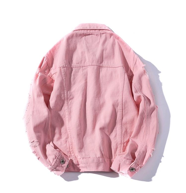 42df395d Grandwish Frayed Hole Jeans Jacket Men Slim Fit Pink Bomber Jacket Mens Hip  Pop Streetwear Jacket Men Button Spring Autumn,DA610-in Jackets from Men's  ...