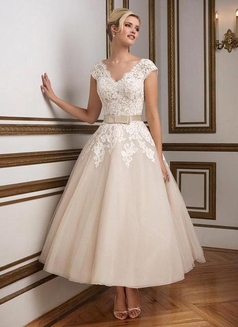 bc09664a05b8b New Arrival Elegant Cap Sleeve V Neck A Line Tea Length Short Wedding  Dresses 2019 Lace Applique Organza Bridal Gown With Sashes