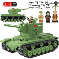 Military Soviet Russia KV 2 Heavy Panzer Tank Building Blocks Compatible Legoed WW2 Soldier Police Weapon Bricks Toys for Boys