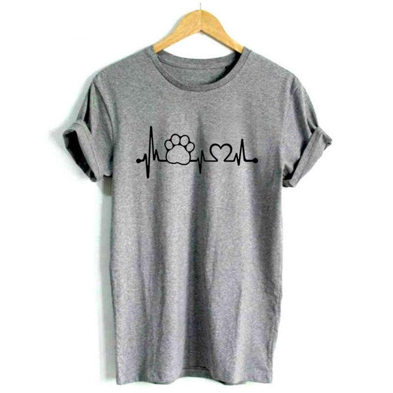 Drop Schiff Frauen T Shirt Fuß Pfote Herzschlag Lebensader Hund Katze Shirts Halajuku Casual Lustige T-shirt Nv82 P Kataloge Werden Auf Anfrage Verschickt