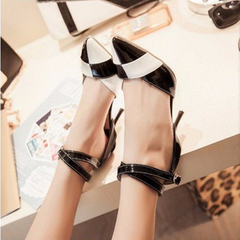 Lady's OL Elegant big size(4-16)pointed toe Patent leather buckle strap thin high heels women Pumps sandals shoes Mixed colors lady elegant sexy big size 4 17rhinestone peep toe pu buckle strap thin high heels women shoes pumps sandals girls summer style