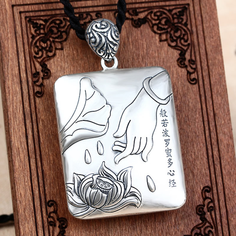 New Pure 925 Sterling Silver Carved Lotus Buddha Hand Scripture Square Pendant New Pure 925 Sterling Silver Carved Lotus Buddha Hand Scripture Square Pendant