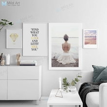 Pink Feather Sea Landscape Beautiful Girl Inspire Quotes Poster Print Nordic Living Room Wall Art Pictures Decor Canvas Painting цена