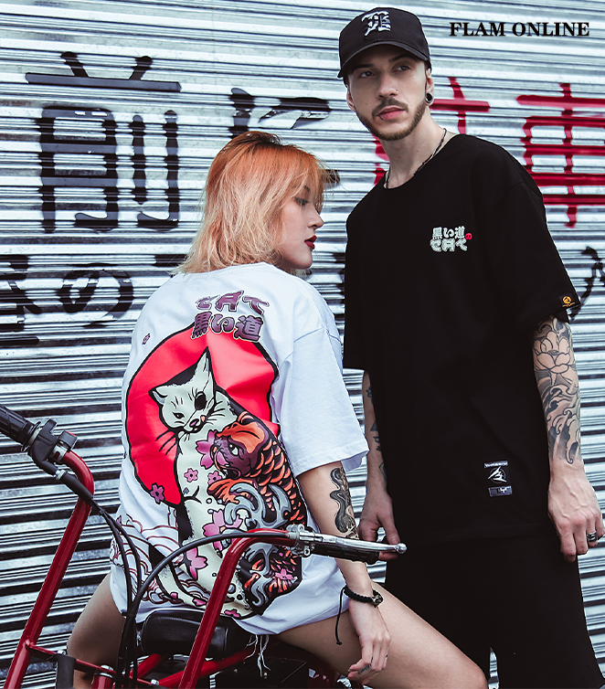 FLAM ONLINE Men Japanese UkiyoE Cat T shirt Harajuku Street wear Hip Hop T Shirt Casual Short Sleeve Summer Tops Tee Japan Style in T Shirts from Men 39 s Clothing