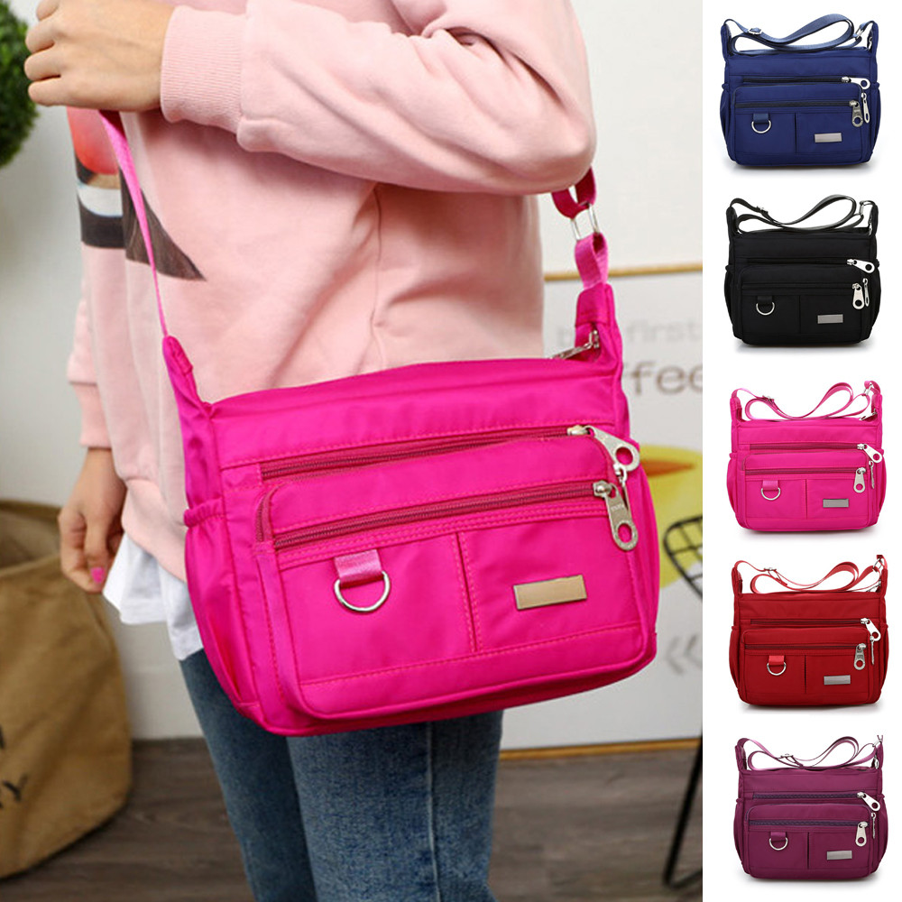 Women Fashion Solid Color Zipper Waterproof Nylon Shoulder Bag  Handbags,Shoulder Bag purple 25cm*19cm*9cm 25
