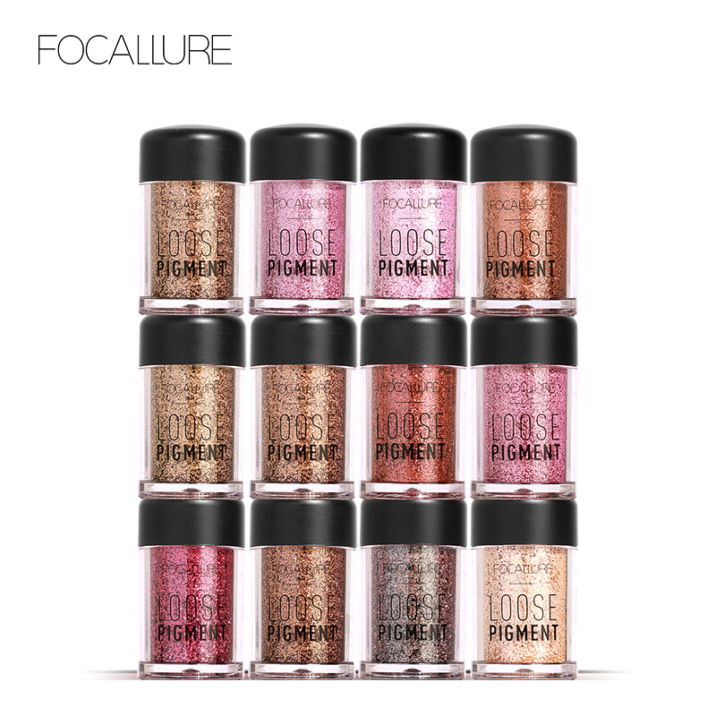 Focallure Glitter Eye Shadow Cosmetic Diamond Lips Loose Eyesmakeup 12 Colors Pigment Powder -5372