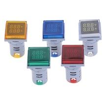 Квадратный светодиодный вольтметр и амперметр с двойным цифровым дисплеем, измеритель напряжения, измеритель тока, переменный ток 60-500 В, 0-100А, электрические компоненты