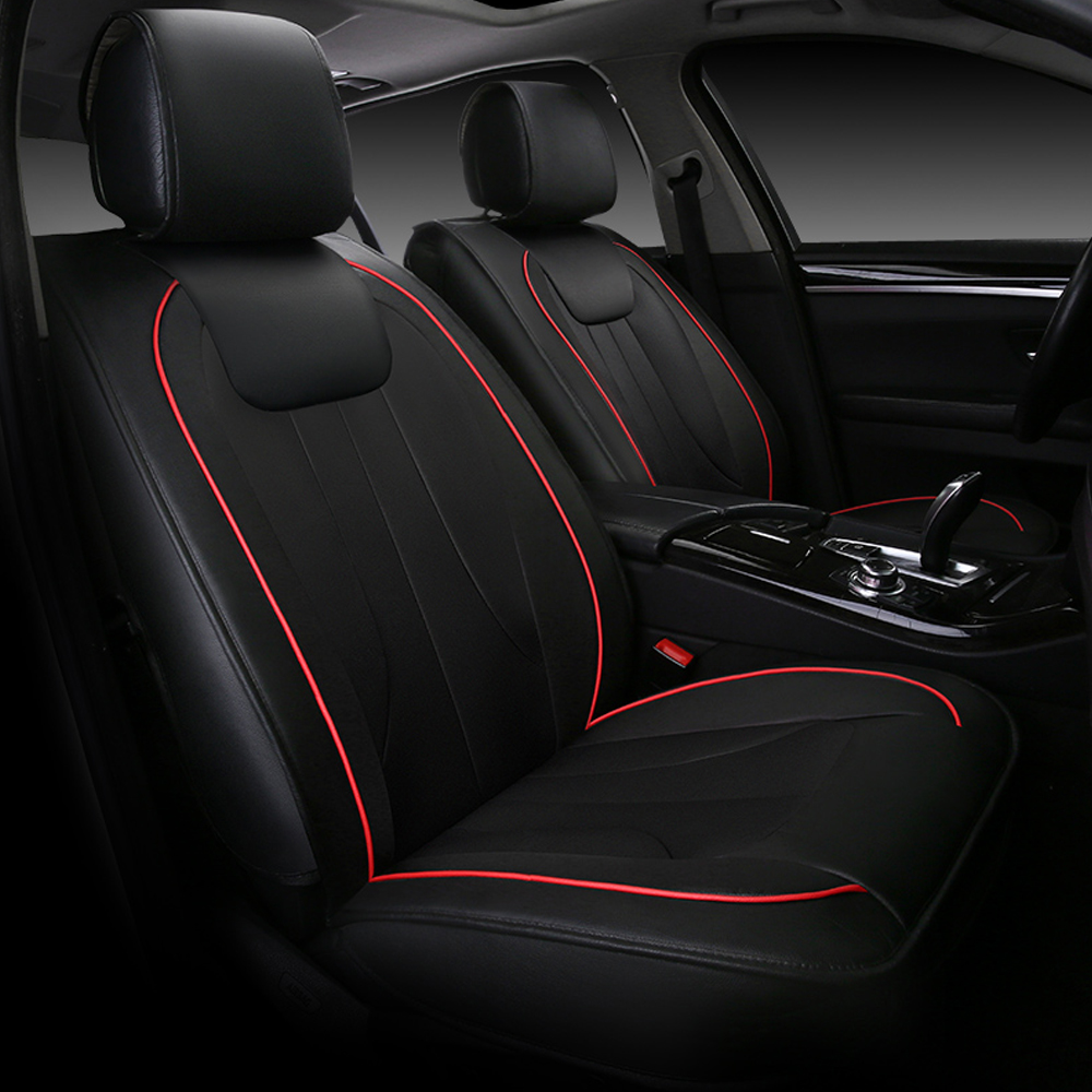 9PCS Universal Luxury Automobiles Seat Covers Stitching Design Leather Back Bag Car Seat Cover 4 Color  Car Accessories