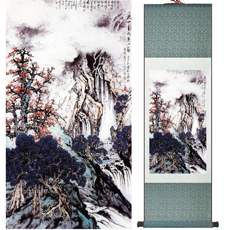 landscape painting Home Office Decoration Chinese scroll painting mountain and River paintingPrinted painting042401