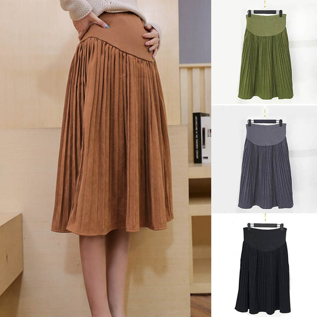Pregnant Women Skirt Pleated Solid Color Maternity Care Belly Midi Skirts Autumn Winter High Waist Maternity Clothes