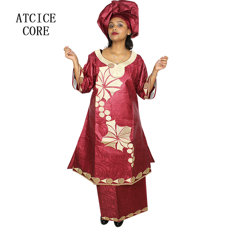 African Dresses For Women Free Shipping New Fashion Design African Bazin Riche Embroidery Long Rapper African Clothes Sp18# Bright In Colour